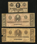 Confederate Notes:1862 Issues, Three Criswell Numbers.. ... (Total: 3 notes)
