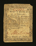 Colonial Notes:Continental Congress Issues, Continental Currency February 17, 1776 $2/3 Very Good-Fine....
