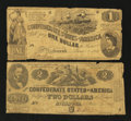 Confederate Notes:1862 Issues, T42 $2 1862. T44 $1 1862.. ... (Total: 2 notes)