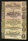 Confederate Notes:Group Lots, Mixed Lot of Confederate Notes. Five Examples.. ... (Total: 5notes)