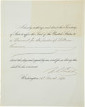 "Autographs:U.S. Presidents, Ulysses S. Grant Document Signed ""U. S. Grant"" as president. One partially-printed page, 8"" x 10"", Washington, March 26,..."