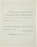 "Autographs:U.S. Presidents, Ulysses S. Grant Document Signed ""U. S. Grant"" as president.One partially-printed page, 8"" x 10"", Washington, June 2, 1..."