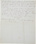 "Autographs:Military Figures, Abner Doubleday Autograph Letter Signed ""A. Doubleday"". One and one-half pages, 8"" x 10"", Washington, D.C., January 25, ..."