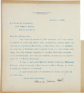 """Autographs:Inventors, Alexander Graham Bell Typed Letter Signed. One page, 8"""" x 9"""", Washington, D.C., January 9, 1906, to journalist Frank G. Carp..."""