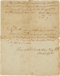 "Autographs:Military Figures, Horatio Gates Discharge Document Signed. Two pages, 6"" x 7.5"",Ticonderoga, November 1, 1776. This discharge begins with Joh..."