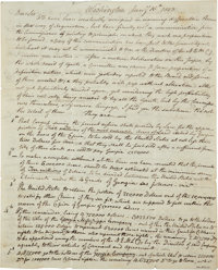 "[Yazoo Land Fraud] Perez Morton Autograph Letter Signed. Three and one-half pages, 8"" x 9.75"", Washington, Jan..."