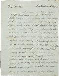 "Autographs:Statesmen, Revolutionary War Naval Battles: William Vernon Jr. AutographLetter Signed. Six pages, 7.5"" x 9.5"", Montauban [France], Aug..."