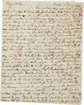 "Autographs:Statesmen, William Vernon Sr. Autograph Letter Signed. Two pages, 7.25"" x 9"",Boston, June 2, 1777, to his son, William (""Billy"") V..."