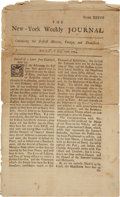 "Autographs:Statesmen, [John Peter Zenger] New-York Weekly Journal. Four pages,7.25"" x 12"", July 22, 1734, ""Numb. XXXVIII"". TheNew-..."