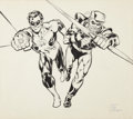 Original Comic Art:Splash Pages, Neal Adams and Dick Giordano Green Lantern/Green ArrowCalendar Illustration Original Art (DC, 1975).... (Total: 2 Items)
