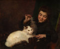 Fine Art - Painting, European:Antique  (Pre 1900), ANTOINE JEAN BAIL (French, 1830-1918). Portrait of a Girl withCat. Oil on canvas. 23-1/2 x 28-3/4 inches (59.7 x 73.0 c...