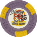 Miscellaneous:Gaming Chips, Harvey's Wagon Wheel $25 Lake Tahoe Casino Chip. Ninth Issue, R-8,Circa 1950s....