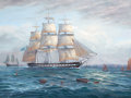 "Fine Art - Painting, European:Contemporary   (1950 to present)  , MICHAEL J. WHITEHAND (British, b. 1941). Three Master Ship""Troyan"" Sailing Up the Thames, 2001. Oil on canvas. 30 x 40..."
