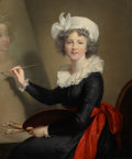 Fine Art - Painting, European:Antique  (Pre 1900), After ELISABETH LOUISE VIGÉE-LEBRUN (French, 1755-1842).Portrait of the Artist at Her Easel. Oil on canvas. 39 x 32inc...