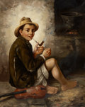 Fine Art - Painting, European:Antique  (Pre 1900), J. L. RONAY (19th Century). The First Pipe. Oil on canvas. 31-1/2 x 25 inches (80.0 x 63.5 cm). Signed lower left: __...
