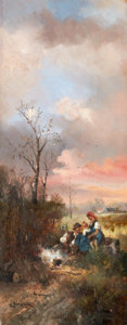 Fine Art - Painting, European:Antique  (Pre 1900), COLESTIN BURGER (German, 1824-1887). Pair of Country Scenes.Oil on panel. 15 x 6-1/4 inches (38.1 x 15.9 cm). Signed: ...(Total: 2 Items)