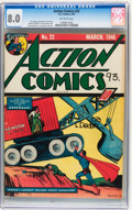 Golden Age (1938-1955):Superhero, Action Comics #22 (DC, 1940) CGC VF 8.0 Off-white pages....