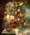 Fine Art - Painting, European:Modern  (1900 1949)  , HANS ZATZKA (German, 1859-1945). Summer Flowers on a Ledge.Oil on canvas. 30 x 25 inches (76.2 x 63.5 cm). Signed lowe...
