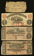 Confederate Notes:1864 Issues, Two Confederates and Two Southern Obsoletes.. ... (Total: 4 notes)