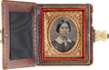 Photography:Tintypes, Sixteenth Plate Tintype in Book Type Case with Washington Equestrian Motif, Circa 1858....
