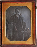 Photography:Daguerreotypes, Quarter Plate Daguerreotype: Portrait of a Young Man with a Cello,Circa 1848....