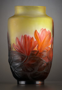 A FRENCH ART GLASS VASE Émile Gallé, Nancy, France, circa 1895 Marks: Galle 10 inches high (25.4