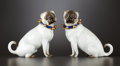 Ceramics & Porcelain, A PAIR OF GERMAN PORCELAIN FIGURES OF PUG DOGS . Meissen, Germany, circa 1900. Marks: (crossed swords). 5-1/4 inches high (... (Total: 2 Items)
