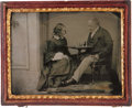 Photography:Ambrotypes, Quarter Plate Ambrotype: Chess Players, Circa 1860....