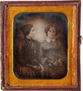 Photography:Daguerreotypes, Sixth Plate Daguerreotype: Portrait of Two Women Housed in a John Plumbe Case, Circa 1845....
