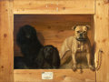 Fine Art - Painting, American:Antique  (Pre 1900), ALEXANDER POPE, JR. (American, 1849-1924). Dogs in a Kennel,circa 1900. Oil on canvas. 36 x 47-1/2 inches (91.4 x 120.7...