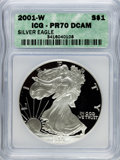 Modern Bullion Coins: , 2001-W $1 Silver Eagle PR70 Deep Cameo ICG. NGC Census: (3076). PCGS Population (323). Numismedia Wsl. Price for problem f...