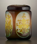 Art Glass:Galle, A FRENCH ART GLASS JAR AND COVER . Émile Gallé, Nancy, France, circa 1900. Marks: Galle. 5-1/2 x 4 inch diameter (14.0 ... (Total: 2 Items)