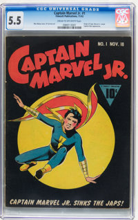 Captain Marvel Jr. #1 (Fawcett, 1942) CGC FN- 5.5 Cream to off-white pages