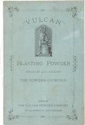 "Western Expansion:Goldrush, Scarce Vulcan Blasting Powder ""The Powder for the Miner""Promotional Brochure, Circa 1880...."