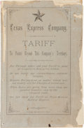 Miscellaneous:Booklets, Scarce 1881 Texas Express Company Tariff Rate Guide Booklet....