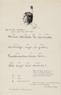 Miscellaneous:Ephemera, Sioux Lyrical Poem Autograph Document Transcribed and Signed by EliWhitney Blake, Jr., Circa 1872....