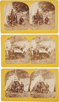 Photography:Stereo Cards, Stereoviews: Lot of Nine Featuring Views of the First Annual Encampment of the Sioux Fishing Club of Gettysburg, Pennsylvania,... (Total: 9 Items)