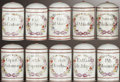 Ceramics & Porcelain, A SET OF TEN FRENCH PORCELAIN APOTHECARY JARS AND COVERS . Decorated in Paris, France, circa 1870. Marks: DeRoche Rue Coqu... (Total: 20 Items)