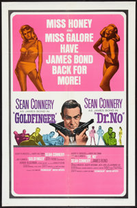 "Goldfinger/Dr. No Combo (United Artists, R-1966). One Sheet (27"" X 41""). James Bond"