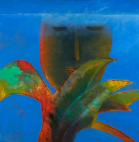 KHOO SUI HOE (Malaysian, b. 1939) Face Under Water, 2001 Oil on canvas 31-1/2 x 31-1/2 inches (80