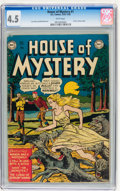 Golden Age (1938-1955):Horror, House of Mystery #1 (DC, 1952) CGC VG+ 4.5 White pages....
