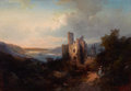 Fine Art - Painting, European:Antique  (Pre 1900), PROPERTY OF A LADY. HEINRICH HILLER (German, 1846-1912).Landscape with Castle, 1874. Oil on canvas. 19-1/4 x 27-1...