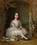 Fine Art - Painting, American:Antique  (Pre 1900), PROPERTY OF A LADY. BRITISH SCHOOL (19th Century). Portrait of aGirl. Oil on canvas. 29-1/2 x 23-1/4 inches (74.9...