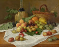 Fine Art - Painting, European:Antique  (Pre 1900), PROPERTY OF A LADY. CONTINENTAL SCHOOL (19th Century). StillLife with Wine and Fruit, 1893. Oil on canvas. 19-1/2...