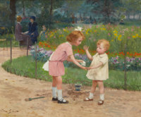 VICTOR GABRIEL GILBERT (French, 1847-1933) The Luxembourg Gardens Oil on canvas 14-7/8 x 18-1/8 i