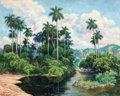 Impressionism & Modernism:post-Impressionism, DOMINGO RAMOS (Cuban, 1894-1967). Jungle Scene with River,1952. Oil on board. 21-1/2 x 27 inches (54.6 x 68.6 cm). Sign...