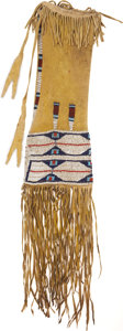 American Indian Art:Beadwork and Quillwork, A CHEYENNE BEADED HIDE TOBACCO BAG. c. 1880...
