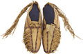 American Indian Art:Beadwork and Quillwork, A PAIR OF SOUTHERN CHEYENNE BEADED HIDE MOCCASINS. c. 1875...(Total: 2 Items)
