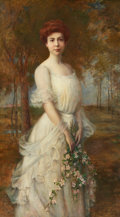 Fine Art - Painting, European:Modern  (1900 1949)  , PROPERTY OF A LADY. CARLE JOAN BLENNER (American, 1864-1952).Portrait of a Lady . Oil on canvas. 64 x 36-1/2 inch...