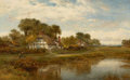 Fine Art - Painting, European:Antique  (Pre 1900), PROPERTY OF A LADY. BENJAMIN WILLIAMS LEADER (British, 1831-1923).Worcester Cottages, 1908. Oil on canvas. 30 x 4...